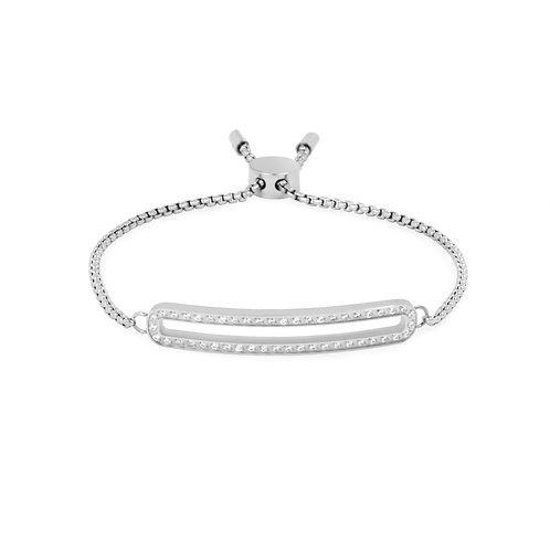 Bracelet Mia circuit cz, Acier inoxydable, Argenté