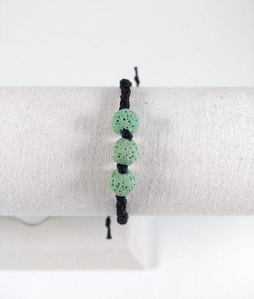 Bracelet ajustable, Pierre volcanique diffuseur d'huiles essentielles, Vert