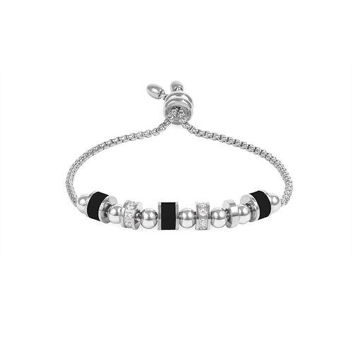Bracelet Mia, multi billes, Acier inoxydable, Argenté