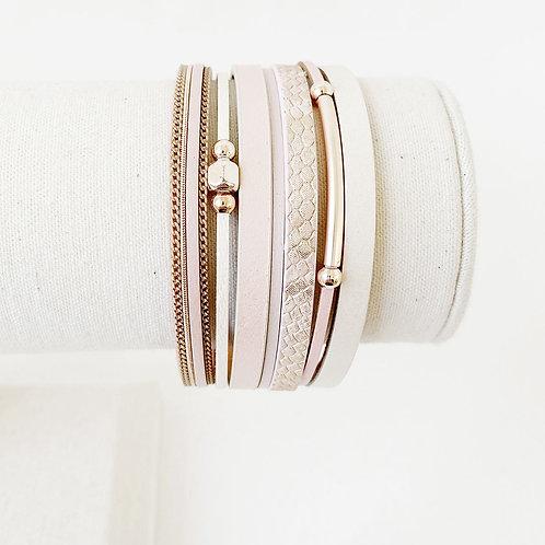 Bracelet Caracol, Cuir avec bille métal, Nu, 3137-NUD