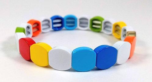 Bracelet élastique Spoutnik, carré arrondi, pièce métal multicolore