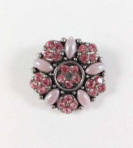 Bouton pression (snap) Nomaad Interchangeable, Fleur rose, cristaux