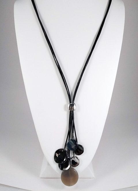 Collier long Spoutnik, Cordon de cuir noir, cercles métal et pierre