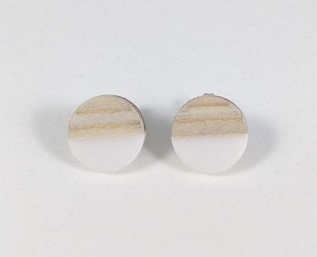 Boucles d'oreille GB Joaillière, Bois et résine, fixe, Blanc