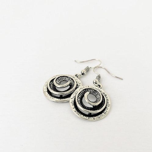 Boucles d'oreille Caracol, Tourbillons métalliques, Argent, 2400-SLV