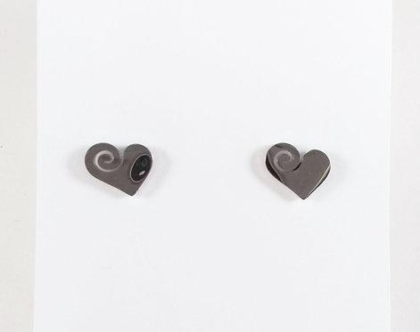 Boucles d'oreille acier inoxydable ''Coeur avec spirale''