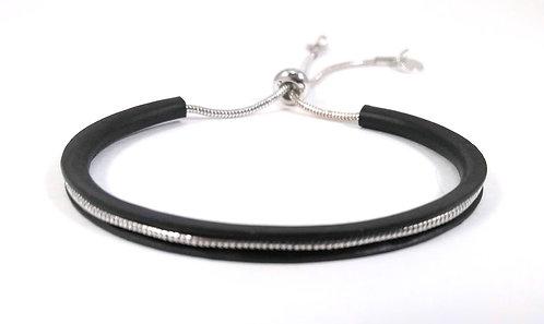 Bracelet Spoutnik ajustable, Demi-cercle rigide noir mat et argent, ajustable