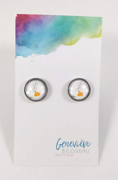 Boucles d'oreille GB Joaillière, 12mm, Blanc avec motif fleur, jaune, Acier i