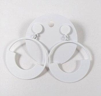 Boucles d'oreille Spoutnik: cercle blanc
