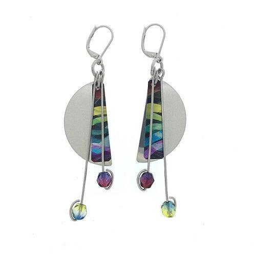 Boucles d'oreille Manifest Design: plaque demi-lune, multicolore