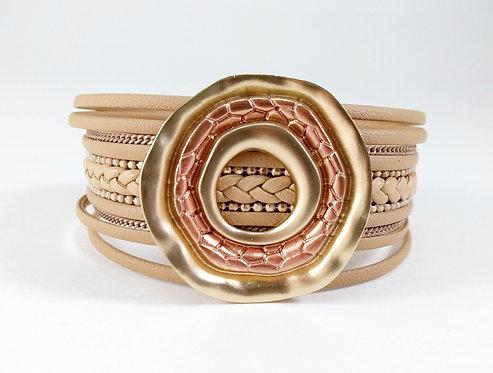Bracelet cuirette beige et or, Anneau