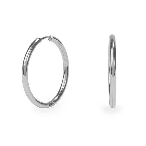 Boucles oreilles anneaux unies 30mm, Acier inoxydable, Argenté