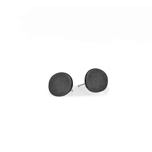 Boucles d'oreille Caracol, Petit bouton fini usé, Noir, 2362-BLK