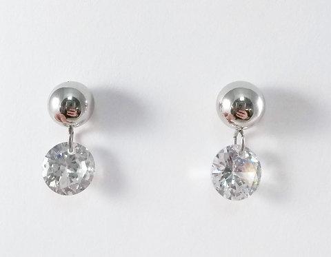 Boucles d'oreille acier inoxydable ''Boule avec cristal pendant''