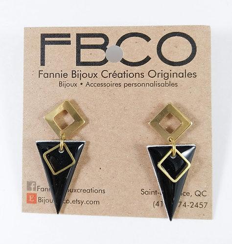 Boucles d'oreille FBCO ''Bella'' noir