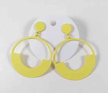 Boucles d'oreille Spoutnik: cercle jaune