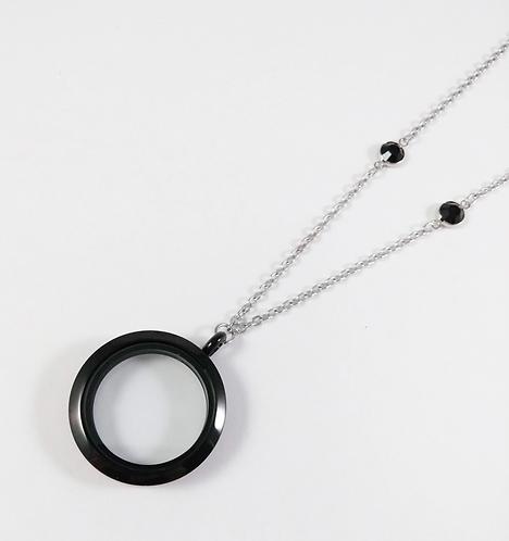 Collier famille GB, Cercle NOIR, format 30mm, chaîne longue
