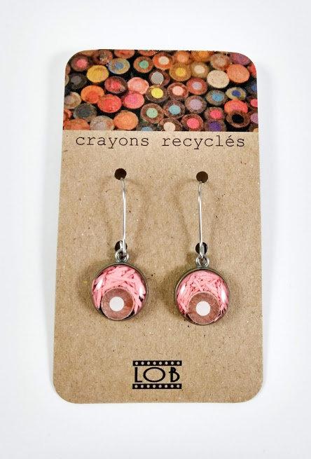 Boucles d'oreille LOB-crayons recyclés (Rose et blanc #15)