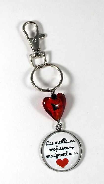 Porte-clés ''Les meilleurs professeurs enseignent avec coeur'' (#69)