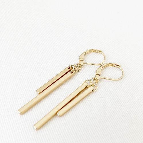 Boucles d'oreille Caracol, Duo bâton métallique, Or mat, 2107-GLD-M