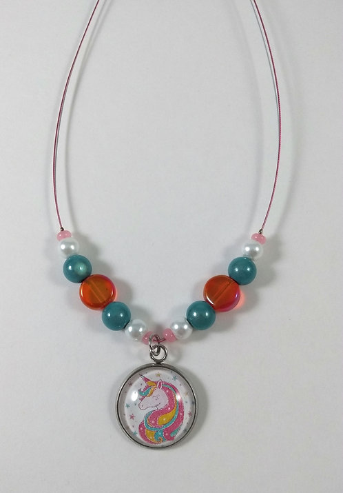 Collier pour enfants: Licorne, Rose, orange et turquoise