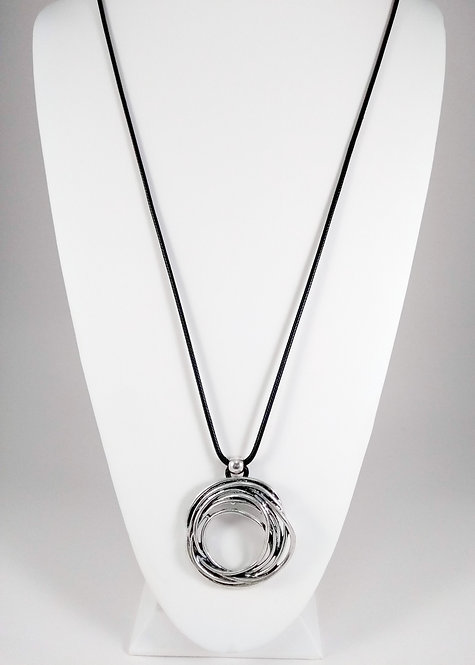 Collier long Caracol, Anneau argent, cordon noir