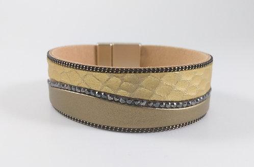 Bracelet Spoutnik cuir 2 tons doré/kaki/taupe, chaînette et cristaux