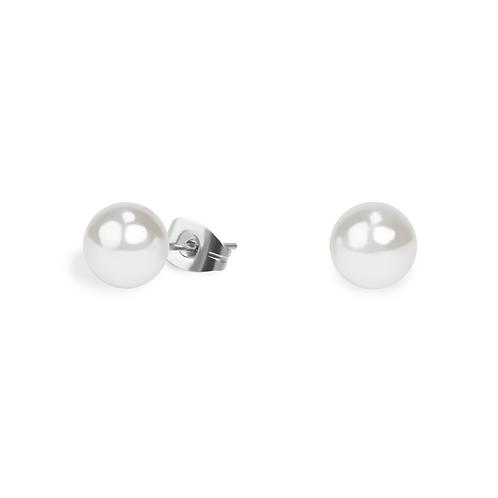 Boucles oreilles perle 7 mm , Acier inoxydable, Argenté