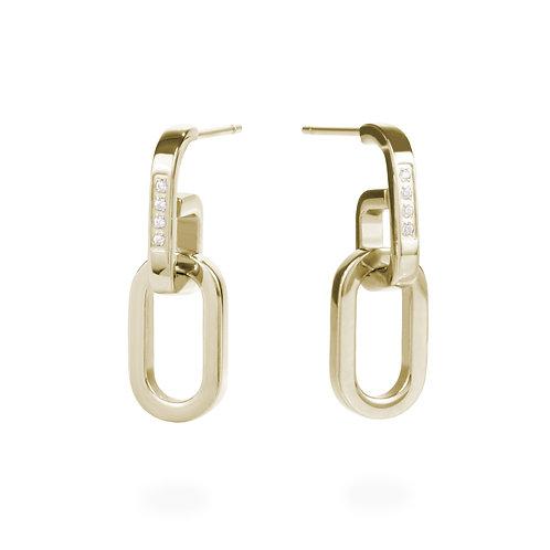 Boucles d'oreilles pendantes mailles, Acier inoxydable, Or