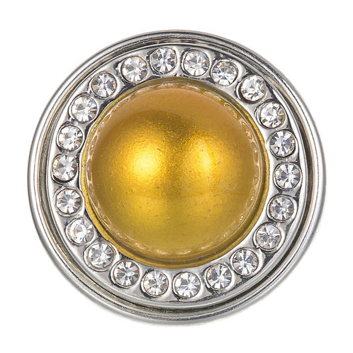 Bouton pression (snap) Nomaad Interchangeable, Perle jaune avec contour cristaux