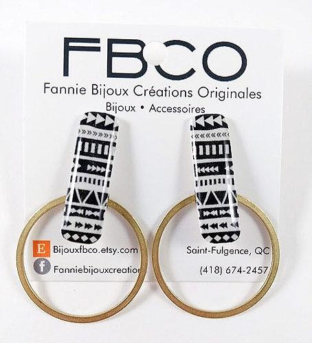 Boucles d'oreille FBCO ''Mila: noir, blanc et or''