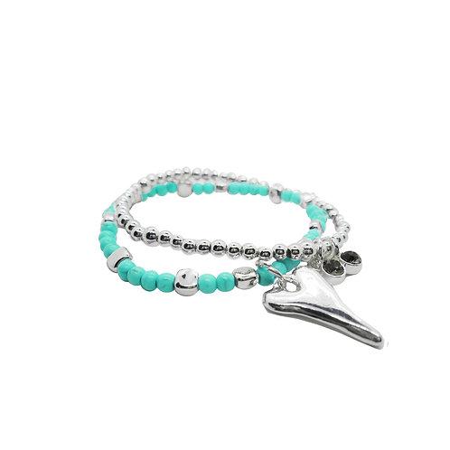 Bracelet Caracol turquoise, coeur argent #3167-TUR