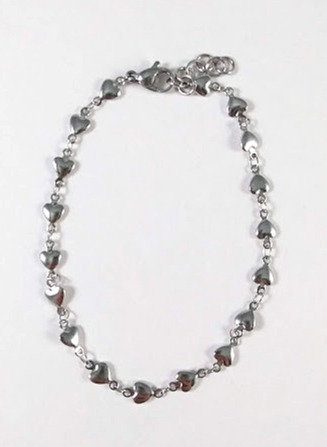 Bracelet de cheville, acier inoxydable, coeur, argent