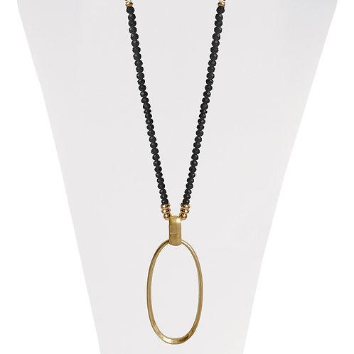 Collier long ajustable Caracol, billes noires, Or, 1423-BLK-G