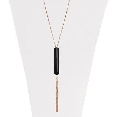 Collier long Caracol, or et noir
