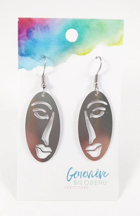 Boucles d'oreille Geneviève Bilodeau Joaillière, acier inoxydable, Visage ovale