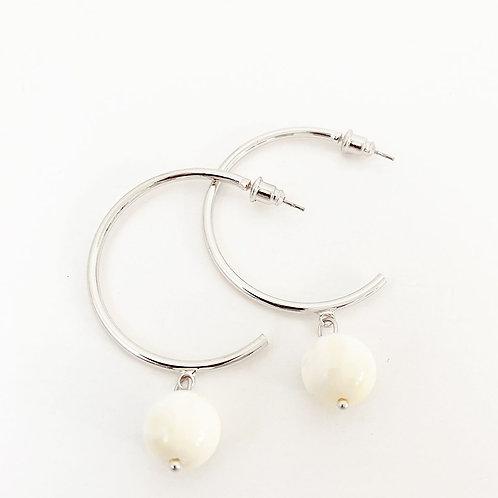 Boucles d'oreille Caracol, Argent et nacre, 2398-SLV