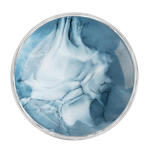 Bouton pression (snap) Nomaad Interchangeable, Résine marbré gris bleuté