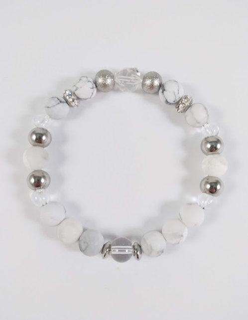 Bracelet #14 Howlite et Quartz cristal