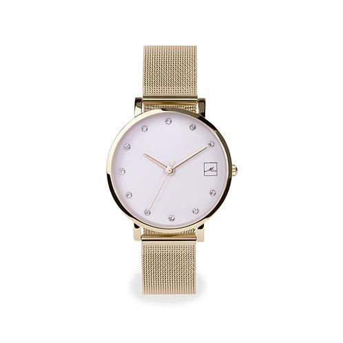 Petite montre pour femme, pierre, Acier inoxydable, Or jaune