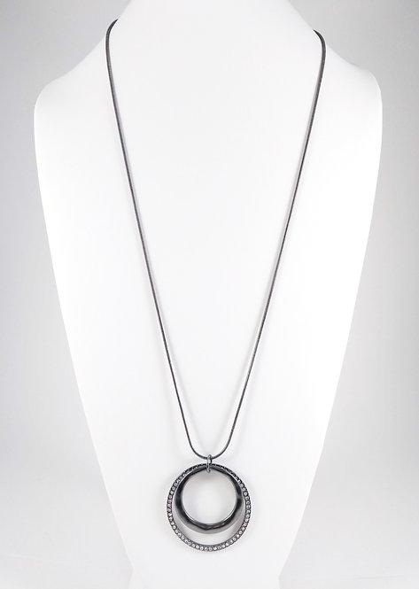 Collier long Spoutnik, Anneau double, cristaux, Métal noir