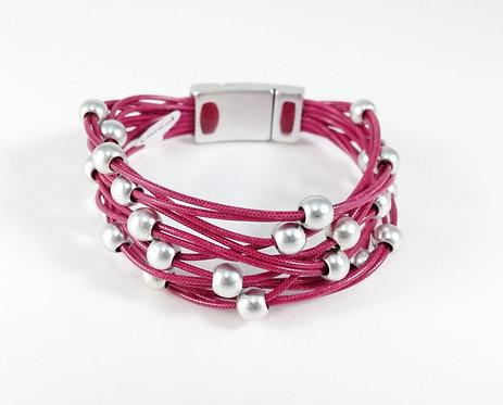 Bracelet Caracol, Bandes de cordons de cuir, rose-fushia, bille argent mat
