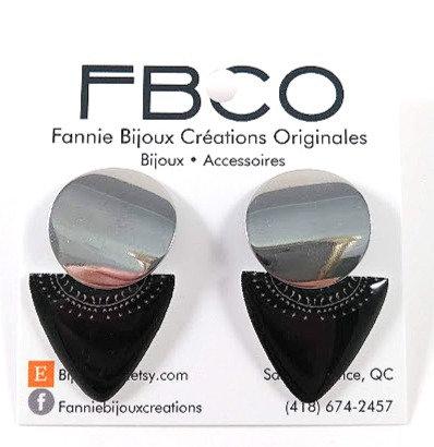 Boucles d'oreille FBCO ''Bowies'' Noir et argent