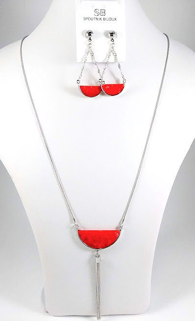 Ensemble collier long et boucles d'oreille Spoutnik, Demi-lune rouge