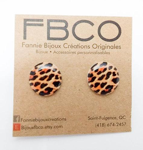 Boucles d'oreille FBCO ''Léopard''