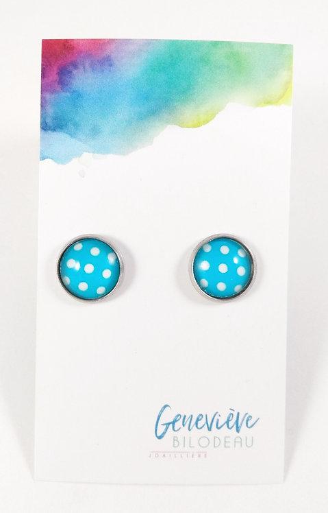 Boucles d'oreille GB Joaillière, 12mm, Bleu à pois blanc, Acier inoxydable