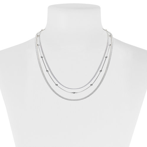 Collier court Caracol, 3 rangs, Argent, 1324-SLV