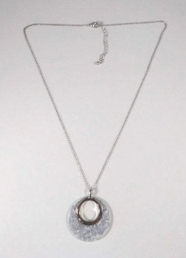 Collier mi-long Spoutnik blanc et argent