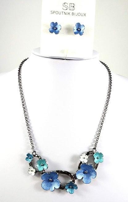 Ensemble collier et boucles d'oreille Spoutnik, Fleur, bleu