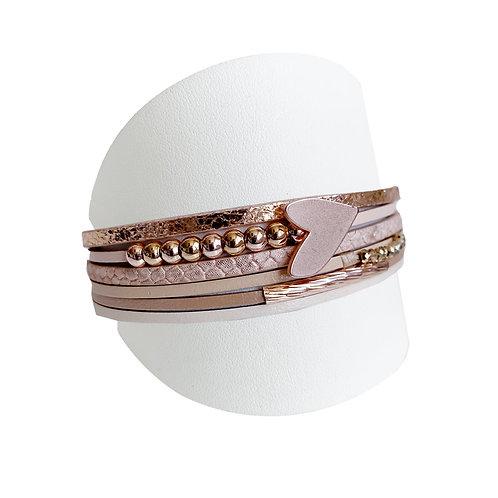 Bracelet Caracol, Cuir et coeur, Nude et or rose, 3148-NUD